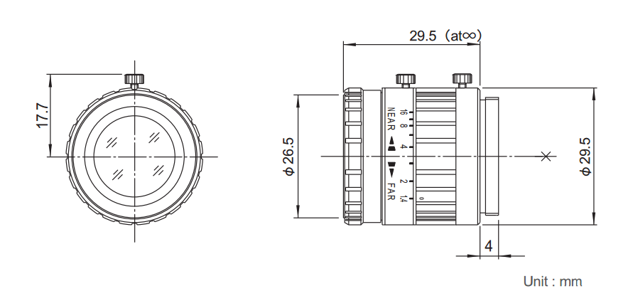 Fujinon HF16HA-1B Dimensions