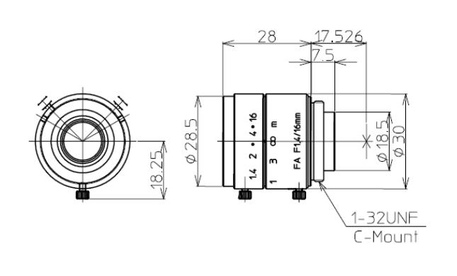 Kowa LM16JC Dimensions