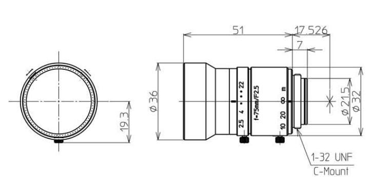 Kowa LM75JC Dimensions