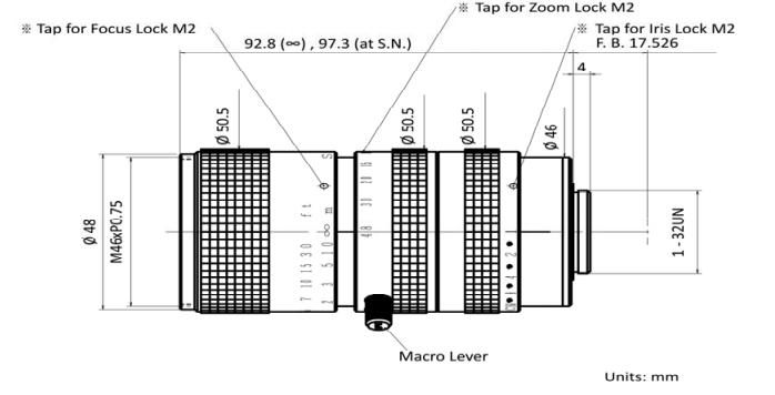 Kowa LMZ68M Dimensions