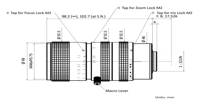Kowa LMZ69M Dimensions