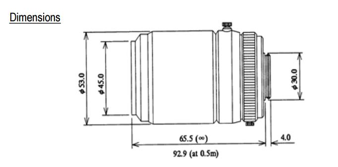 Computar TEC-55 Telecentric Lens Dimensions