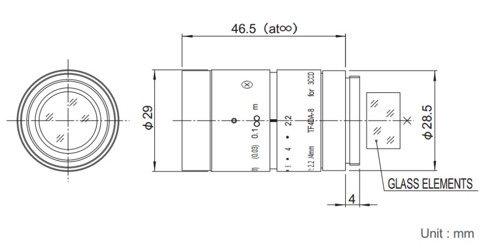 Fujinon TF4DA-8 Dimensions