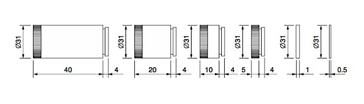 Computar VM100 Lens Extension Kit Dimensions