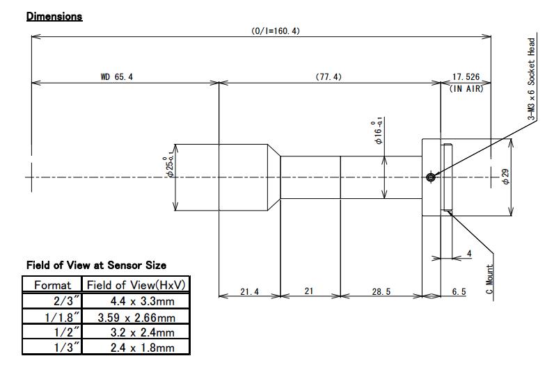 Computar TEC-M2065MP Dimensions