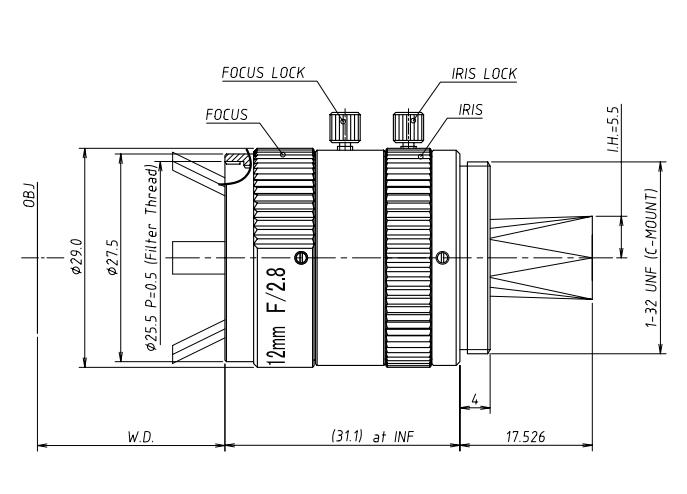 UV1228CM Lens Dimensions