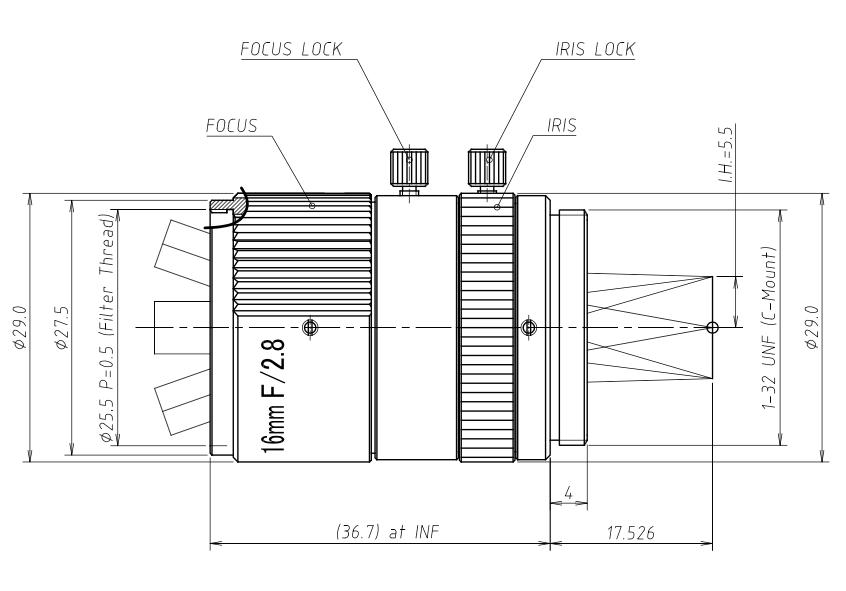 UV1628CM Ultraviolet Lens Dimensions
