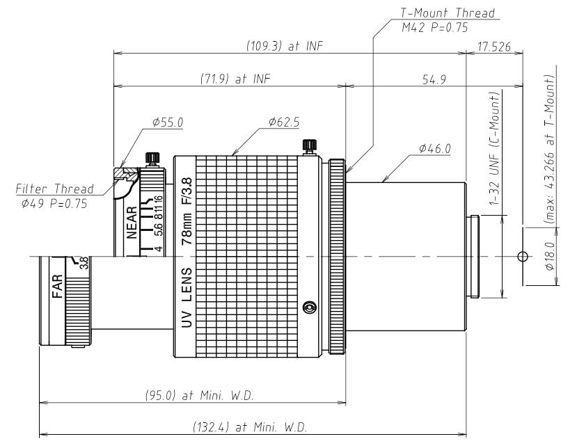 UV8040K 78mm Quartz C-Mount Lens Dimensions