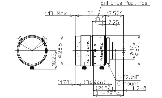 Kowa LM8JC Dimensions