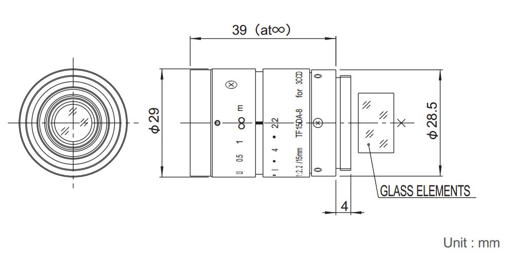 Fujinon TF15DA-8 Dimensions