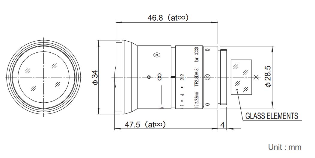 Fujinon TF2.8DA-8 Dimensions