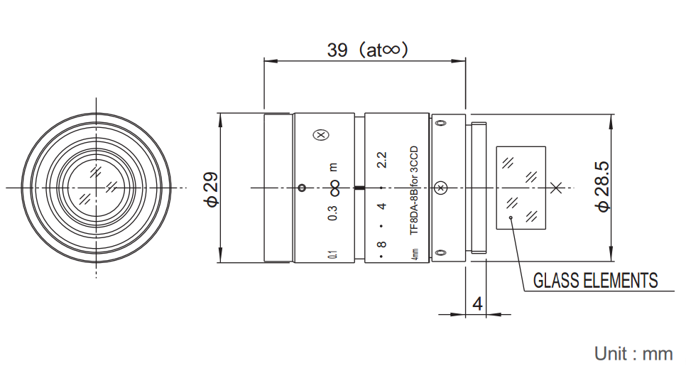 Fujinon TF8DA-8 Dimensions