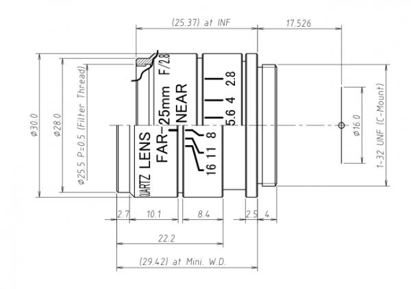 UV2528B UV Quartz 25mm C-Mount Lens
